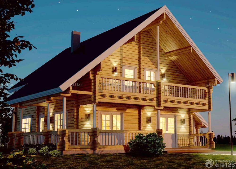 农村小型两层木屋别墅外观设计图