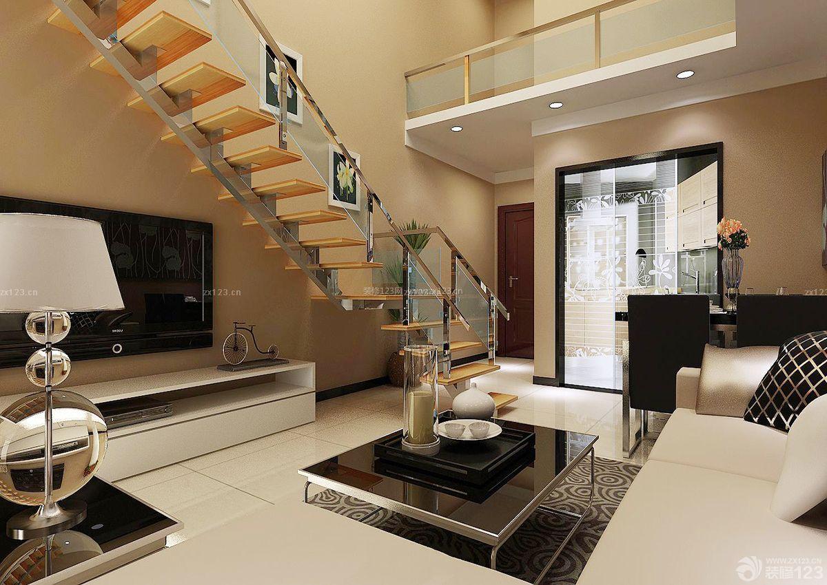 时尚客厅门口楼梯设计装修效果图片