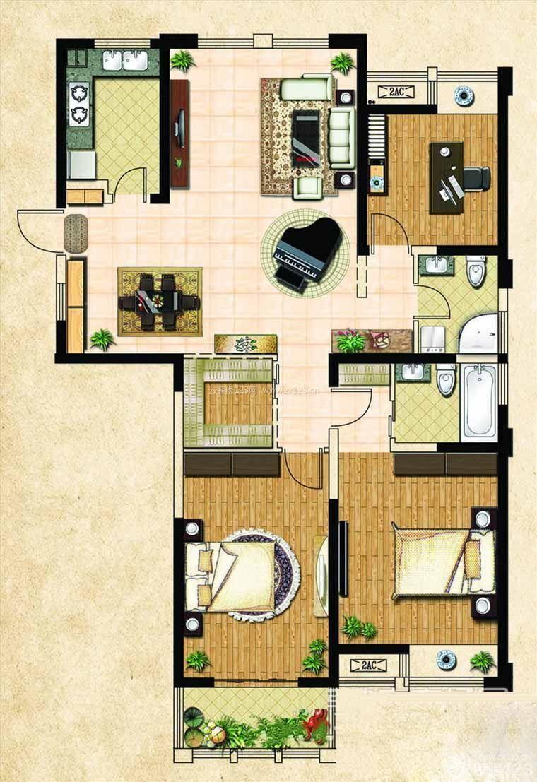 农村豪华别墅装修效果图三室两厅平面图