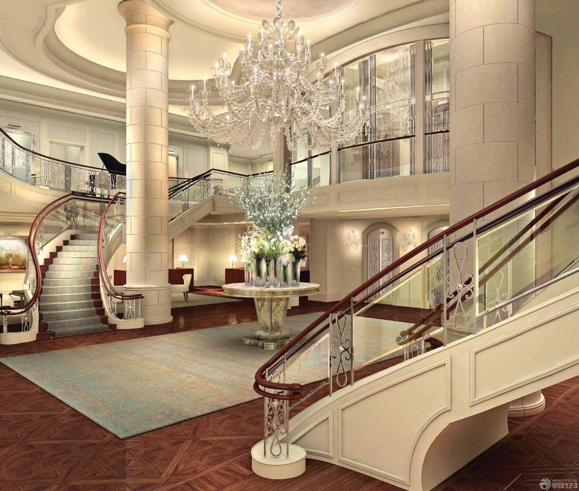 酒店大厅楼梯扶手设计装修效果图图片