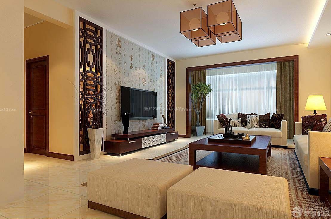 房子新中式客厅装修设计图片大全南北80平