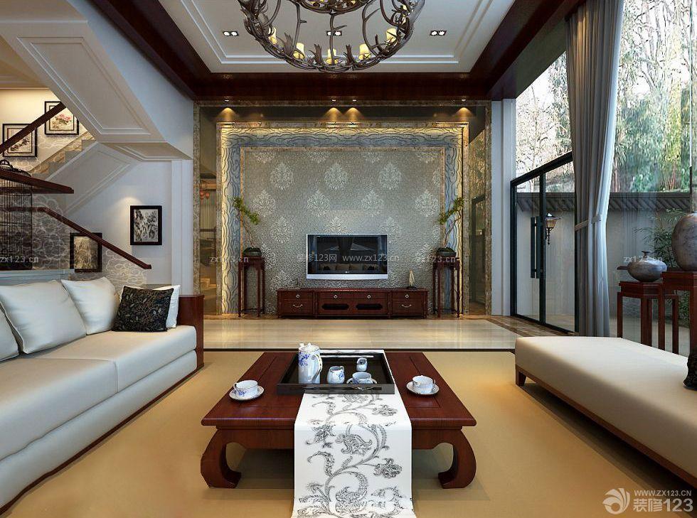 140平别墅房子大厅装修设计图片大全_装修123ag路子 官方网站