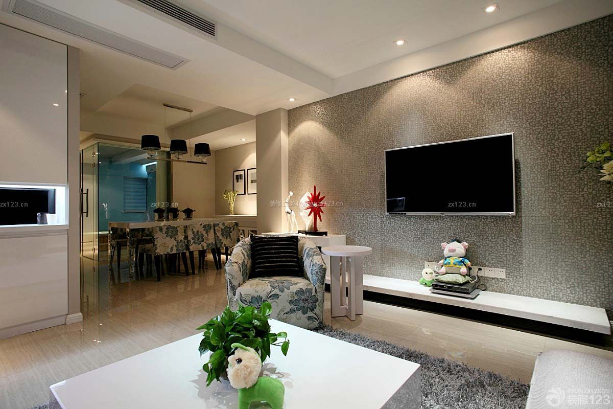 房子装修现代简约电视背景墙设计图片大全125平