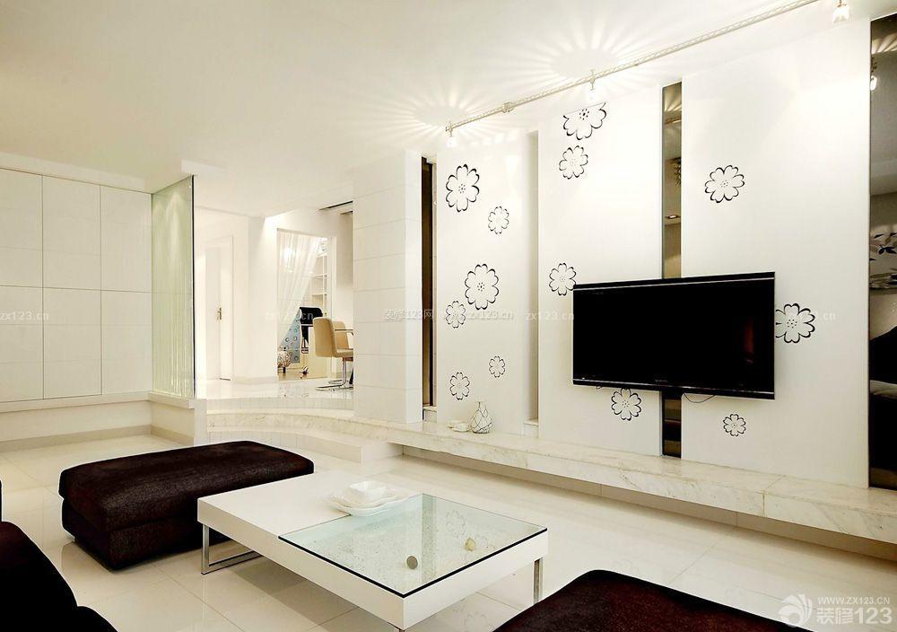 现代简约风格微晶石电视背景墙实景图