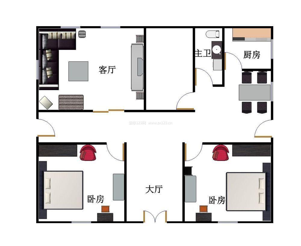 农村一层平房设计图l两室一厅一厨一卫一餐厅长12米宽