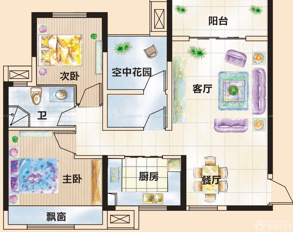 80平方平房两室两厅一厨一卫户型设计图