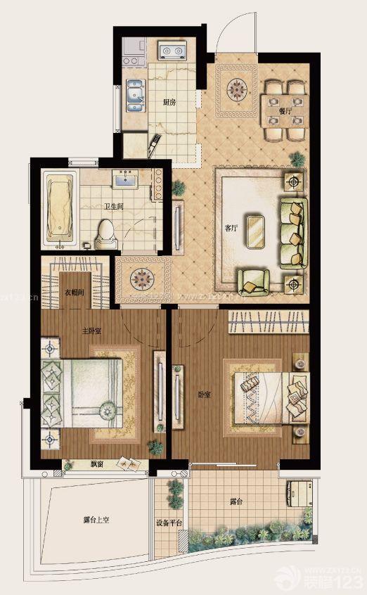 80平方平房两居室户型设计图