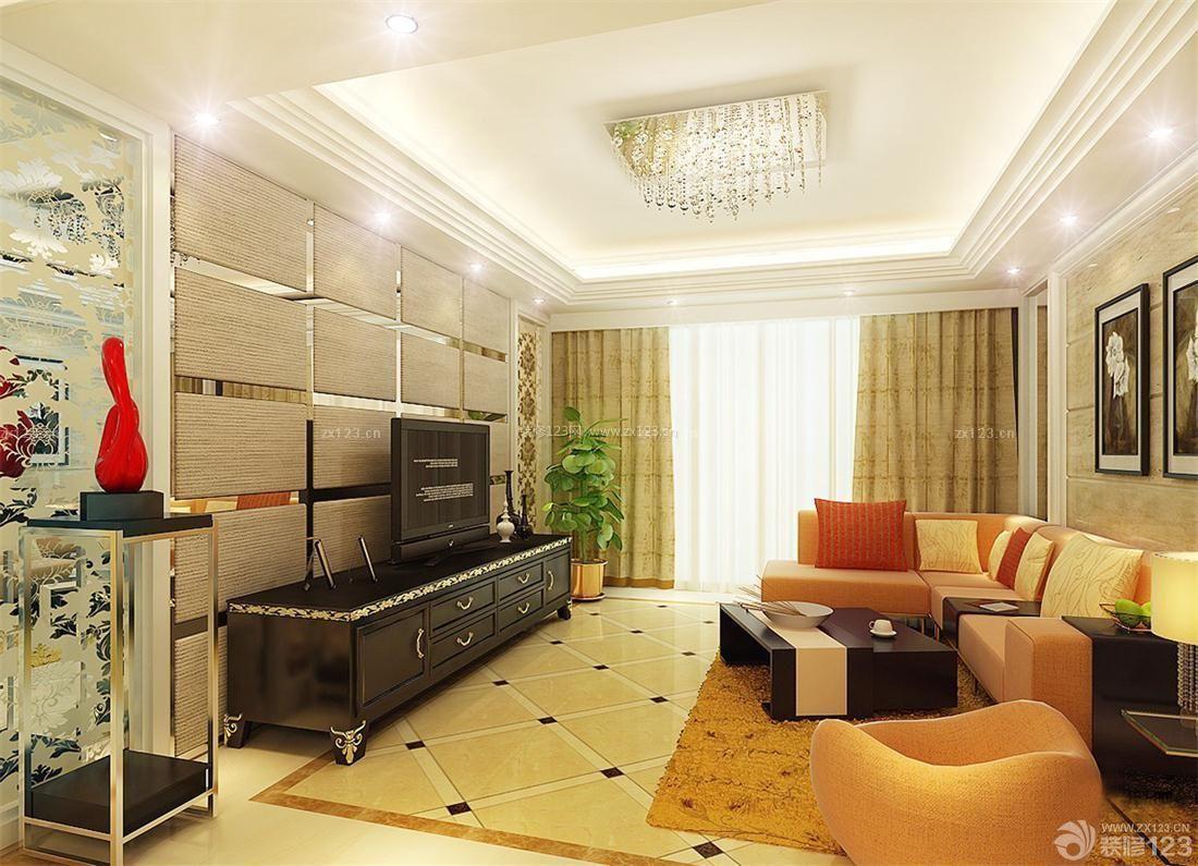 现代简欧式风格客厅波打线装修实景图图片