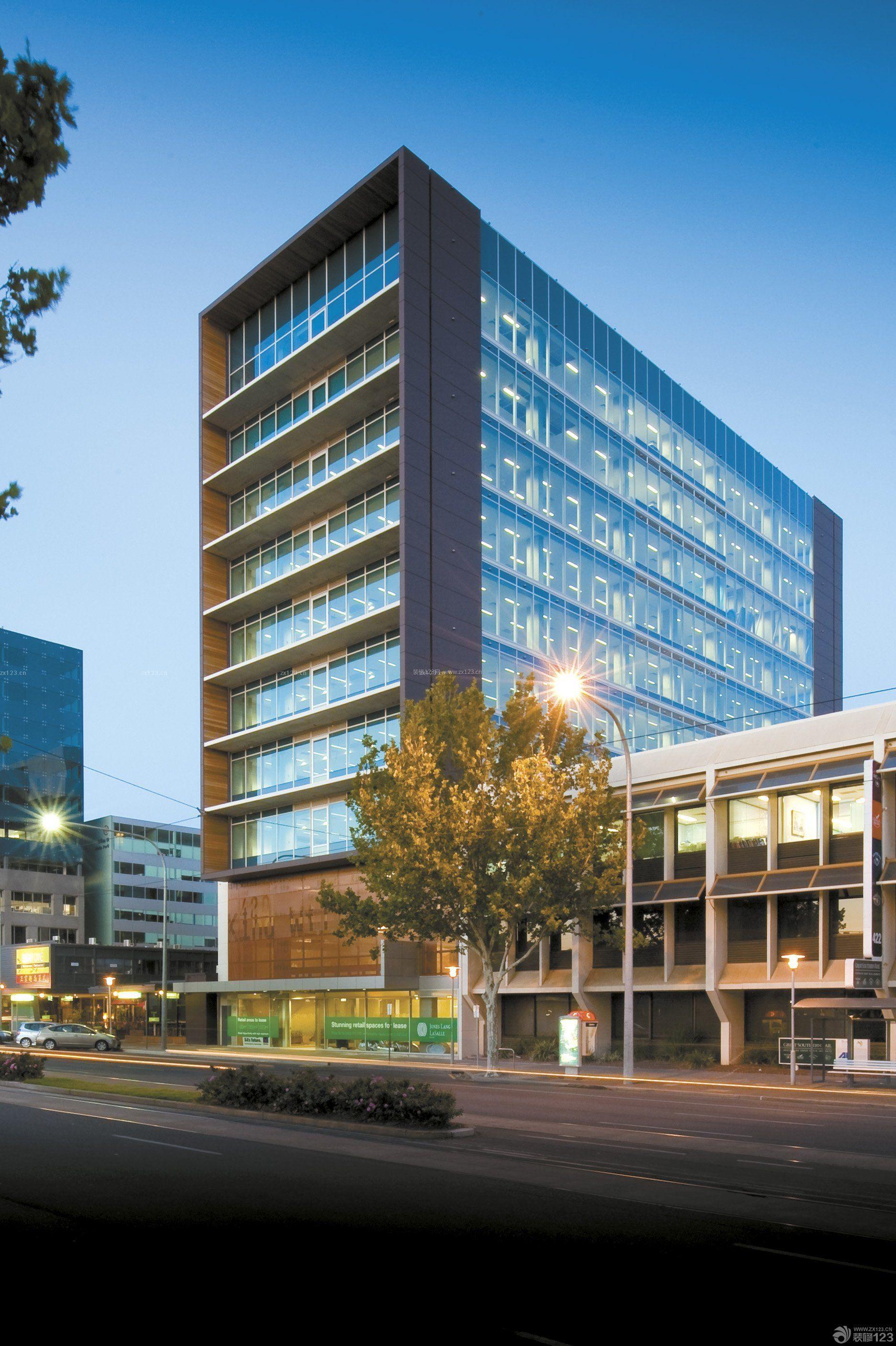 写字楼办公楼建筑外观表现及室内大堂办公室会议室设计_办公楼门厅