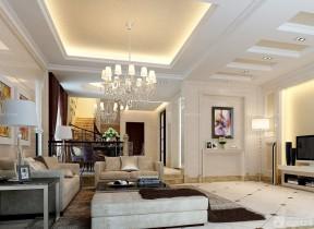 家庭裝飾樣板房 客廳石膏板吊頂