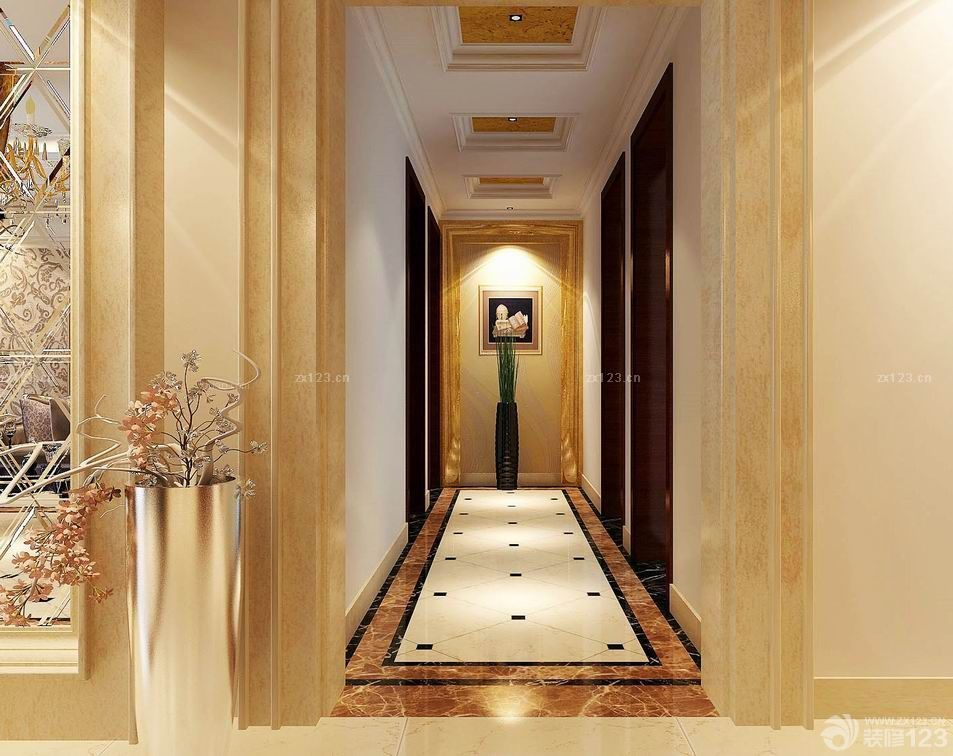 经典欧式风格房间通道瓷砖设计
