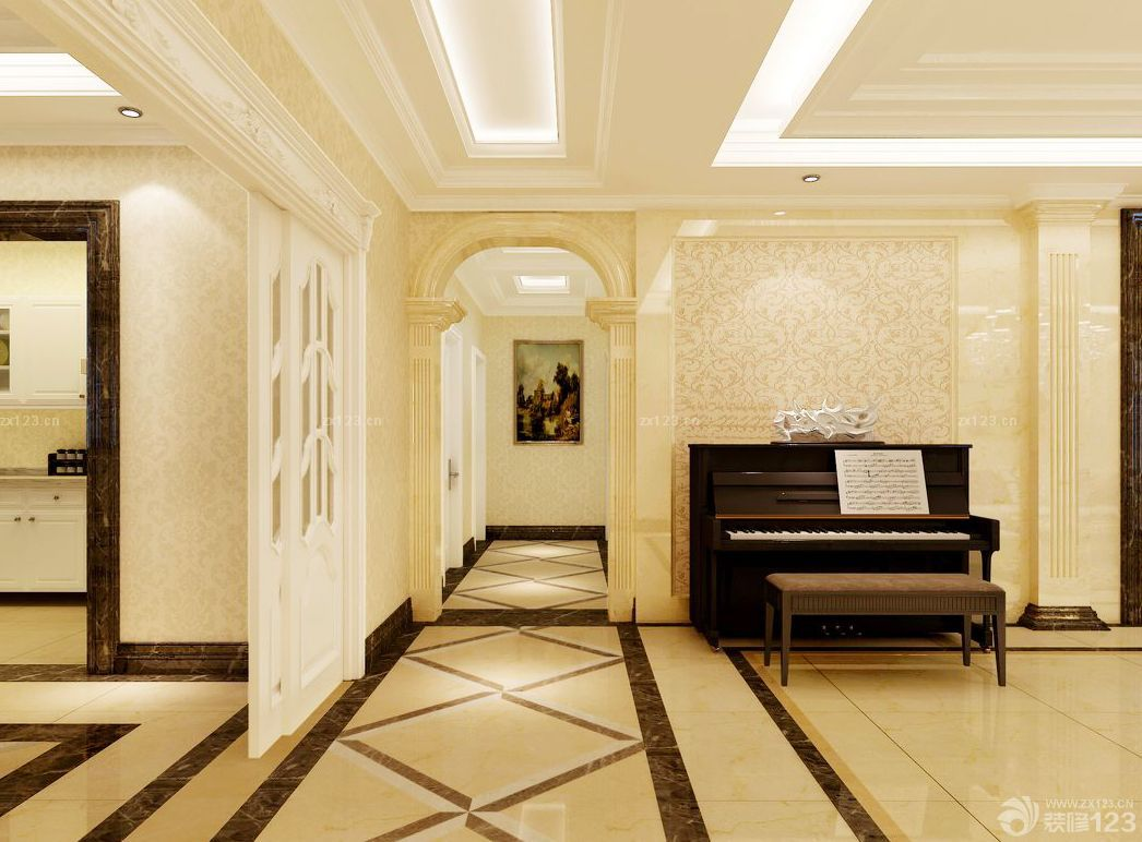 房间通道走廊玄关瓷砖设计装修效果图