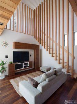 跃层楼梯设计不锈钢楼梯扶手效果图小户型图片