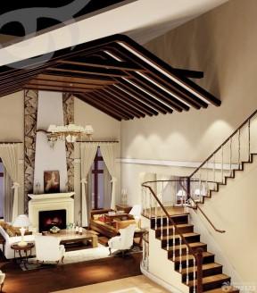 跃层楼梯设计效果图小户型 美式风格