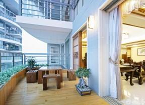 交换空间阳台设计 木质茶几装修效果图片