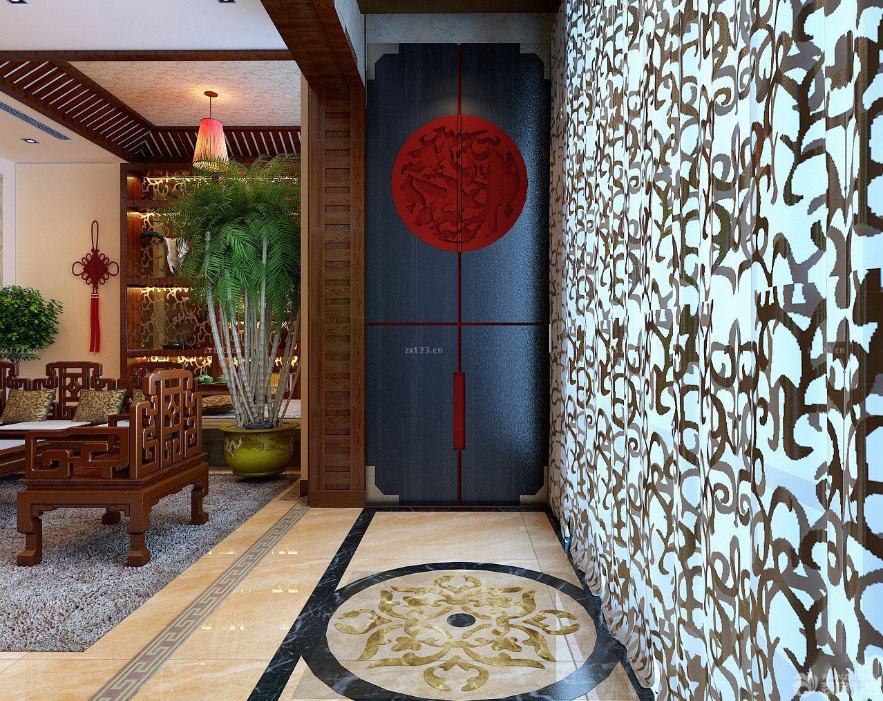 2015中式走廊玄关墙面设计装修效果图图片