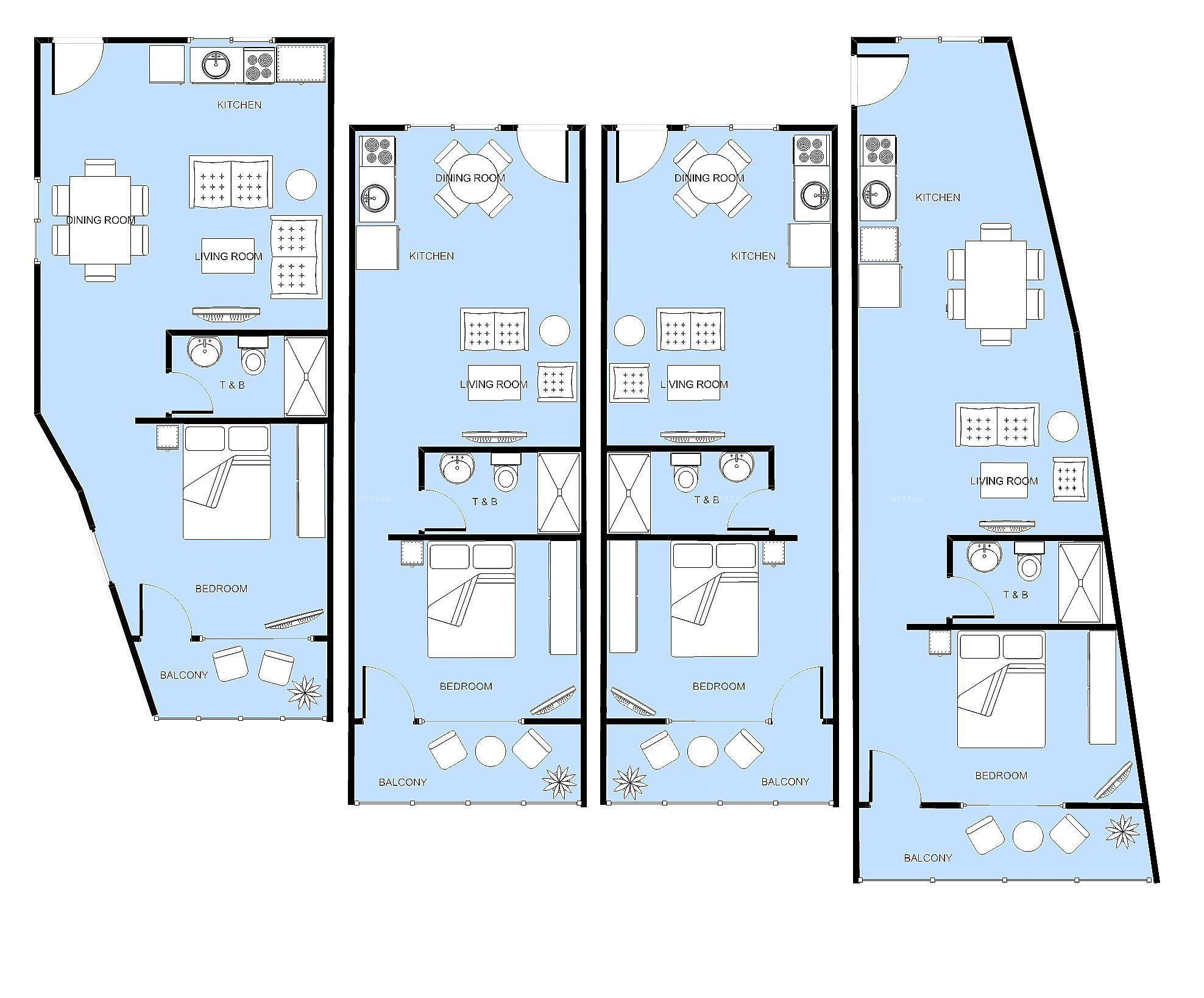 精品酒店客房设计平面图