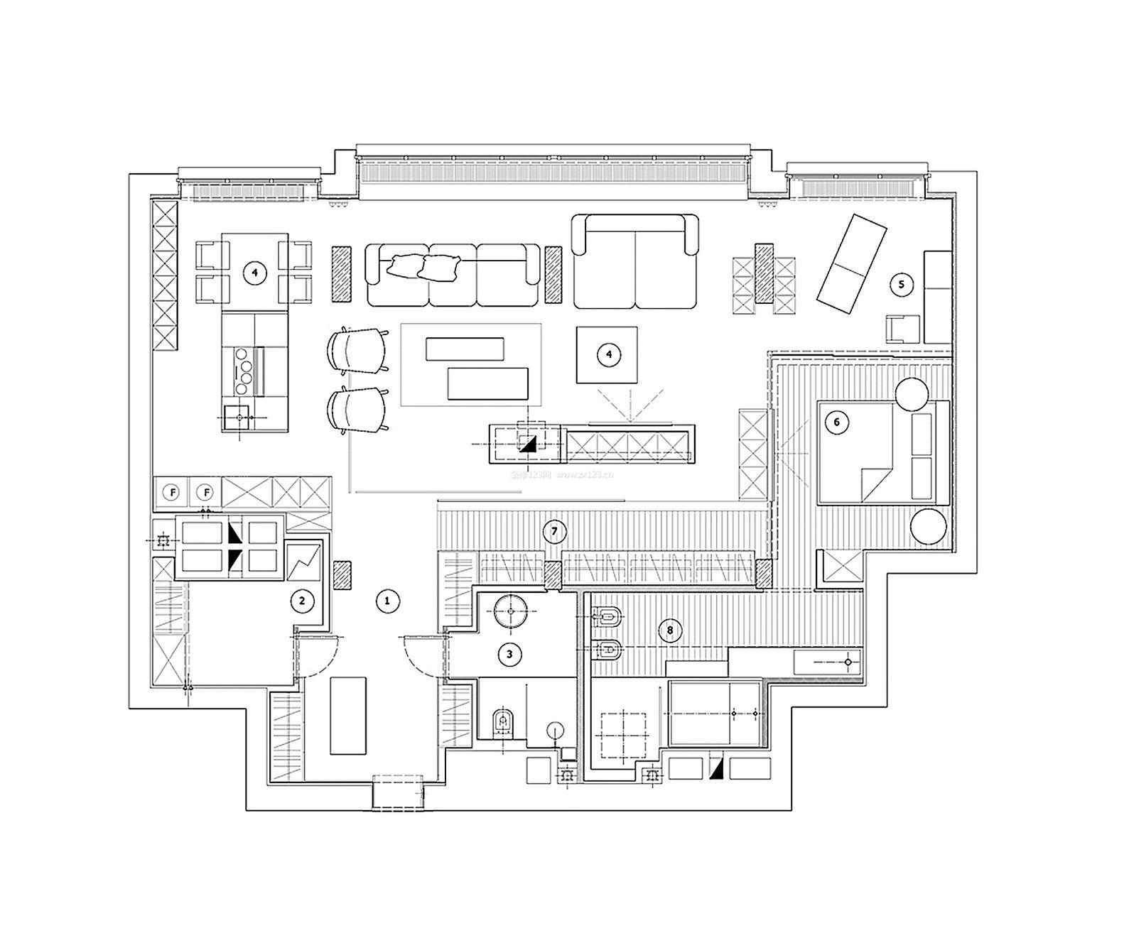 最新小型酒店客房设计平面图_装修123效果图