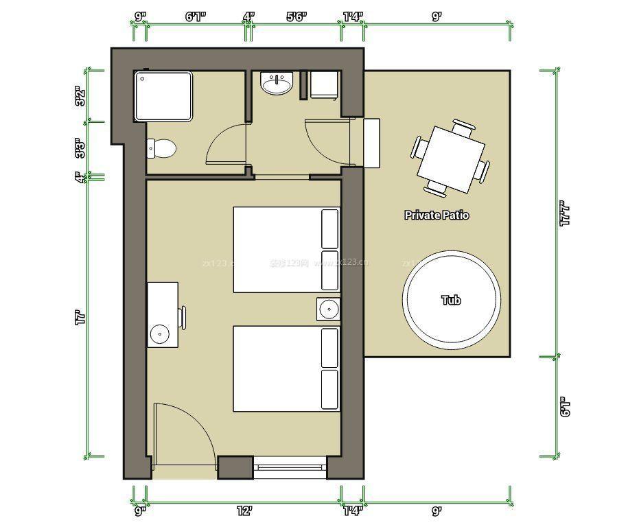 酒店客房设计平面图_酒店客房标准间平面图