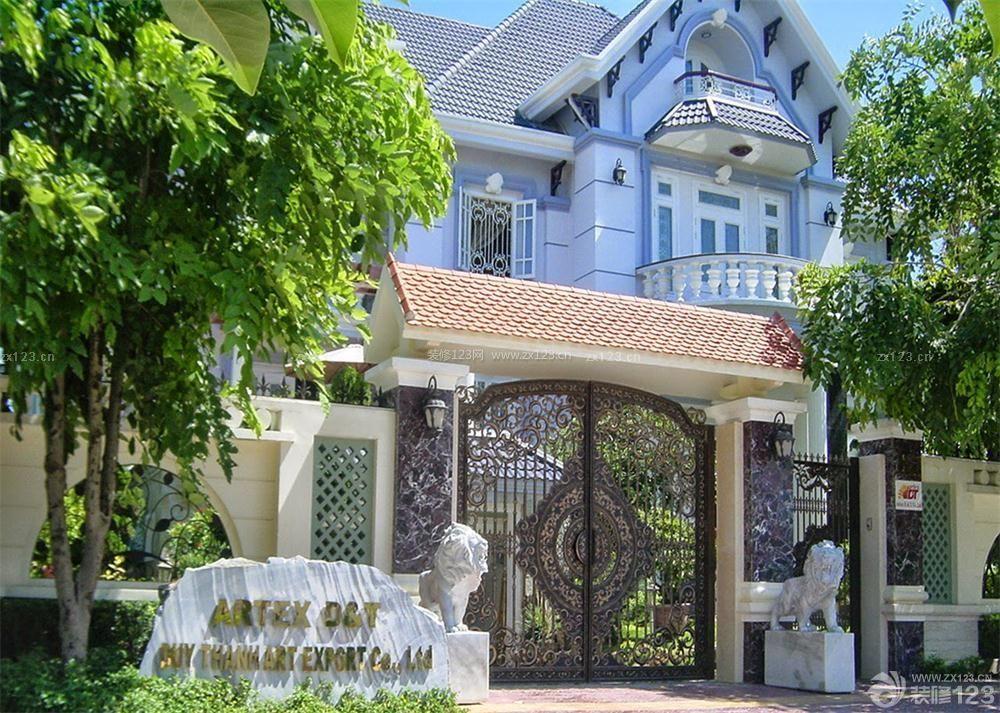 传统欧式别墅外围墙门柱设计图片