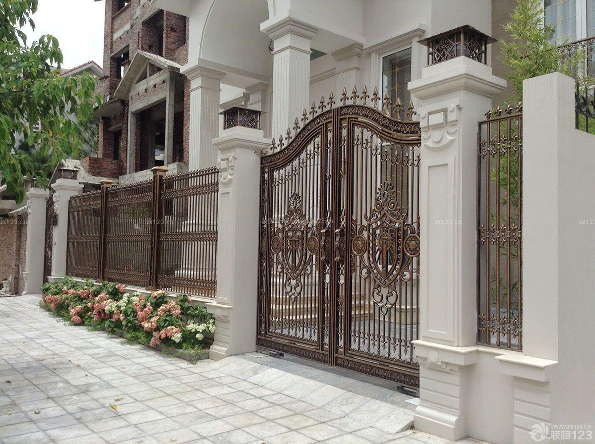 自建别墅别墅外围墙门柱设计效果图