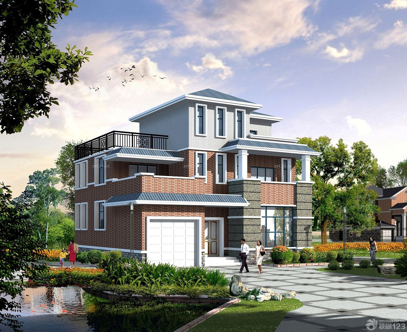 2015新款二层楼房农村外墙瓷砖装修外景图