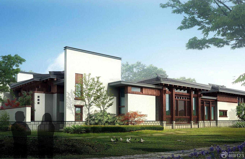 2015新款中式二层楼房围墙护栏外景设计图
