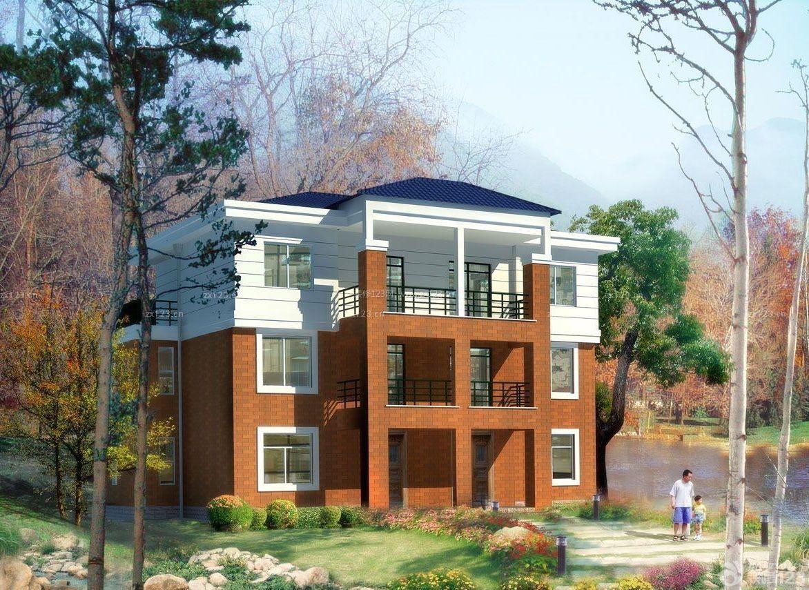 简约农村三层别墅外观外墙瓷砖装修效果图