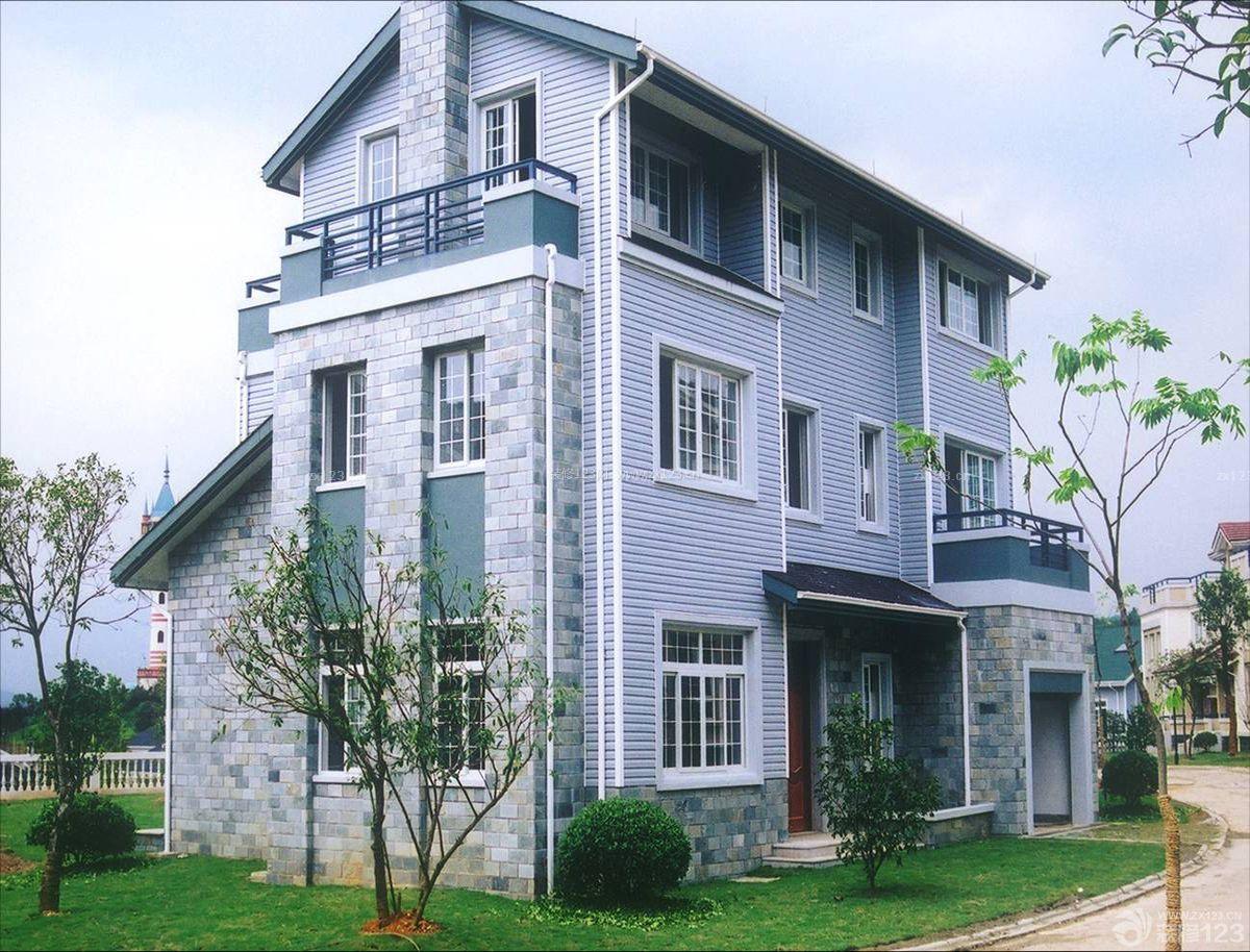 农村三层别墅外观外墙瓷砖装修效果图