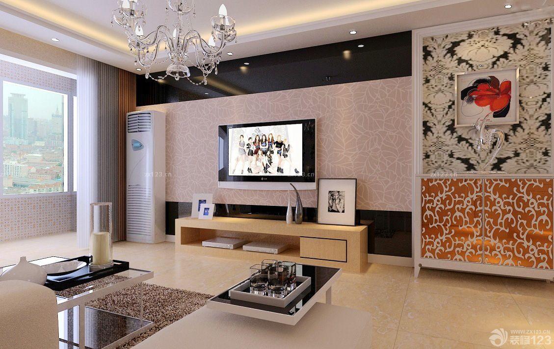欧式电视背景墙造型装修效果图大全2015图片