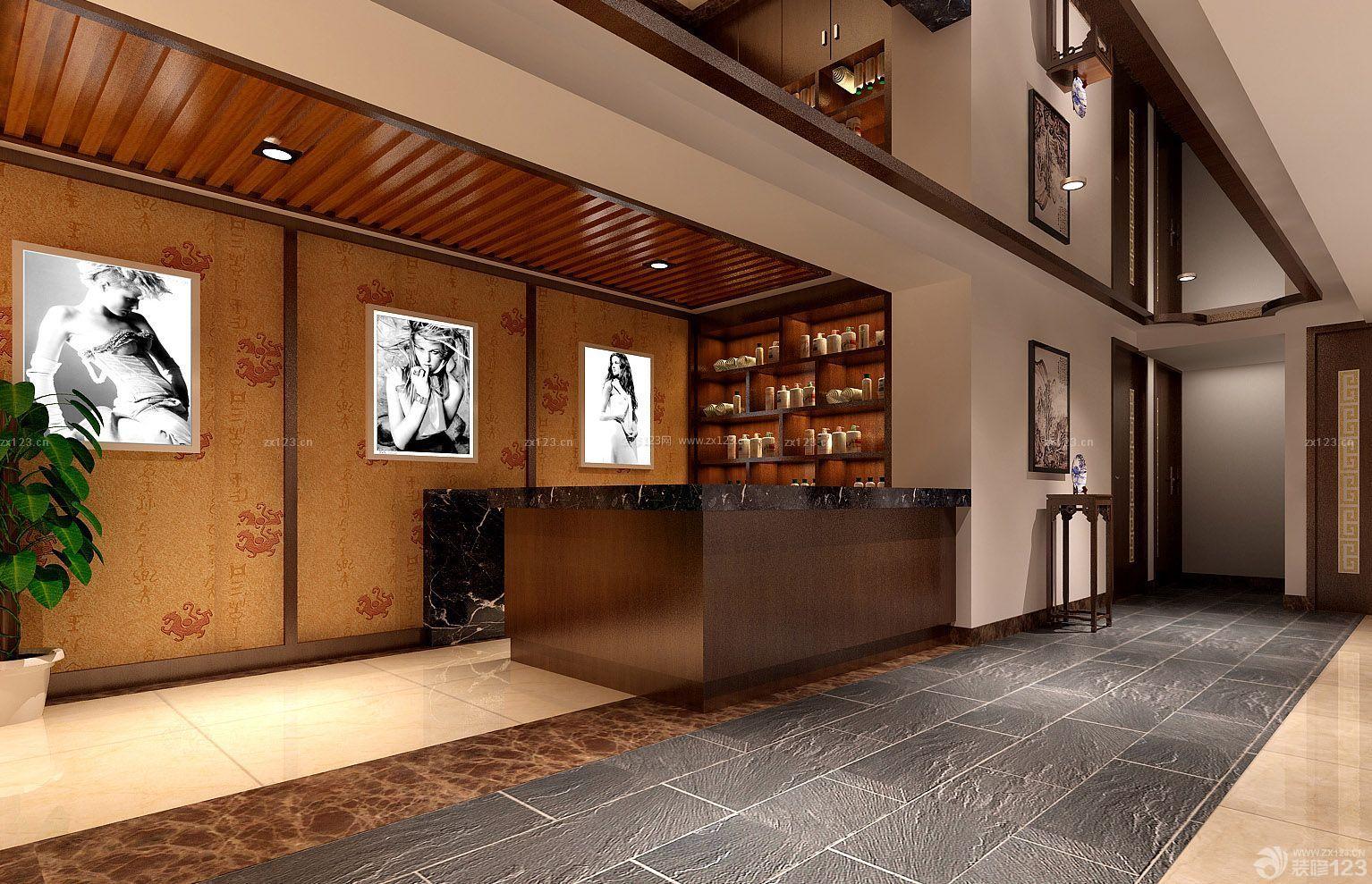 小户型新中式风格美容店壁纸装修设计效果图图片