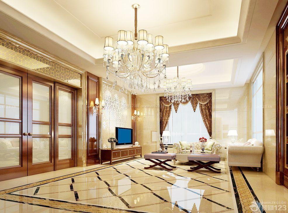 大客厅装修长方形拼花贴图