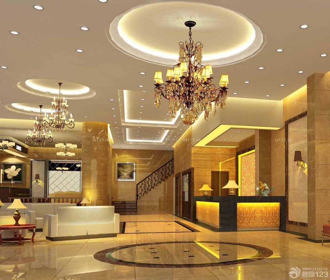 小型酒店大厅圆形吊顶装修效果图片