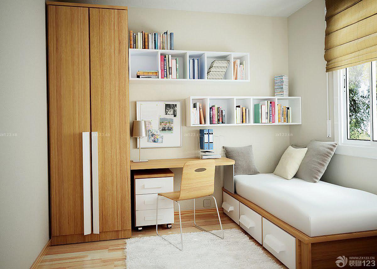 80平米小清新房子卧室绿色窗帘装修设计图
