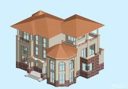 欧式农村别墅外观琉璃瓦房效果图图片