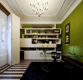 80平米房子書房綠色墻面裝修設計圖-每日推薦