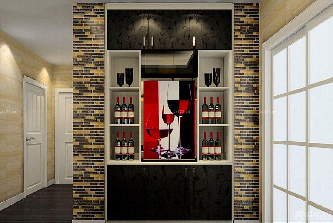 欧式古典主义风格餐厅与客厅酒柜隔断装修图片