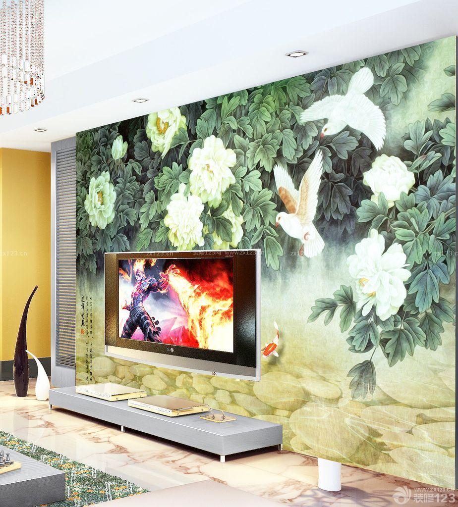 经典现代风格手绘电视背景墙装修图片大全