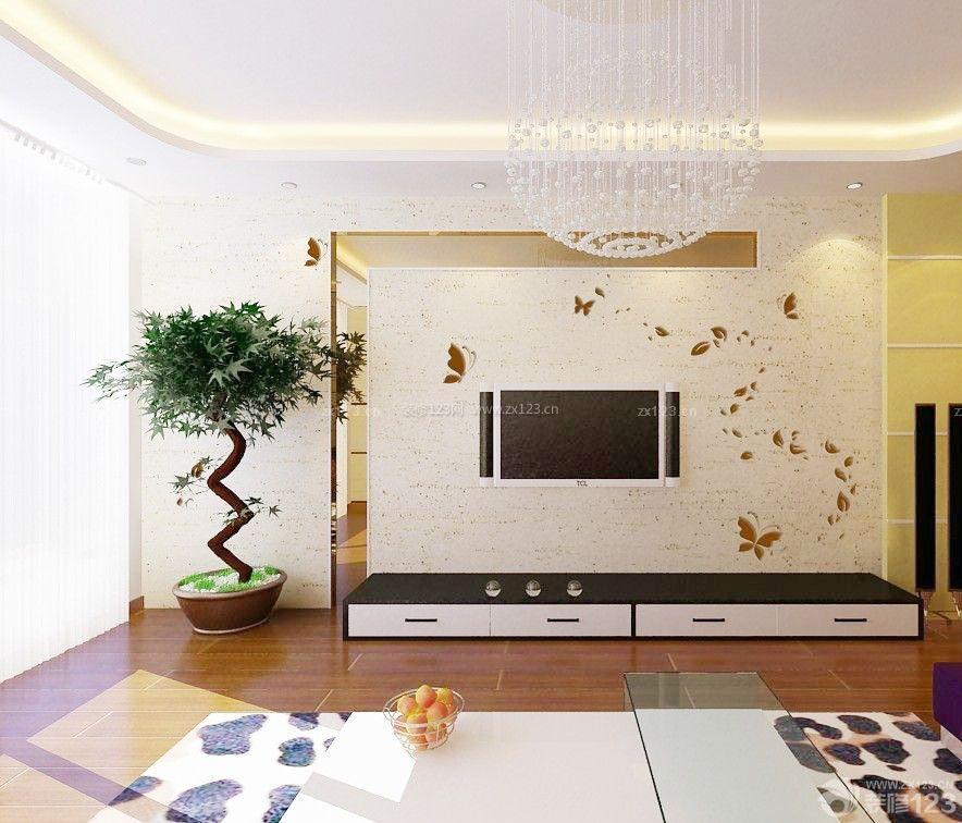 精致硅藻泥手绘电视背景墙装修效果图片