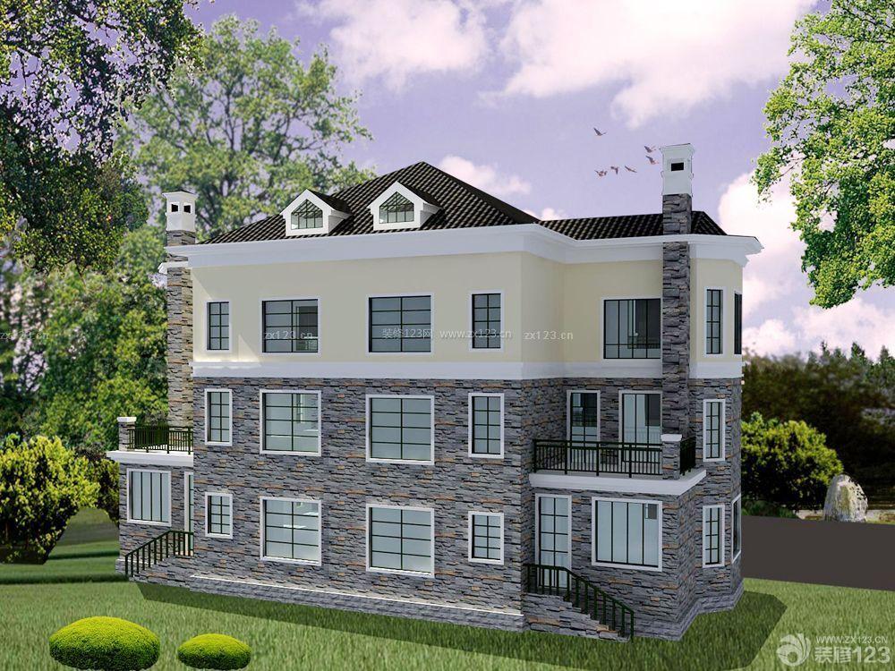 农村三层别墅半顶式琉璃屋顶效果图