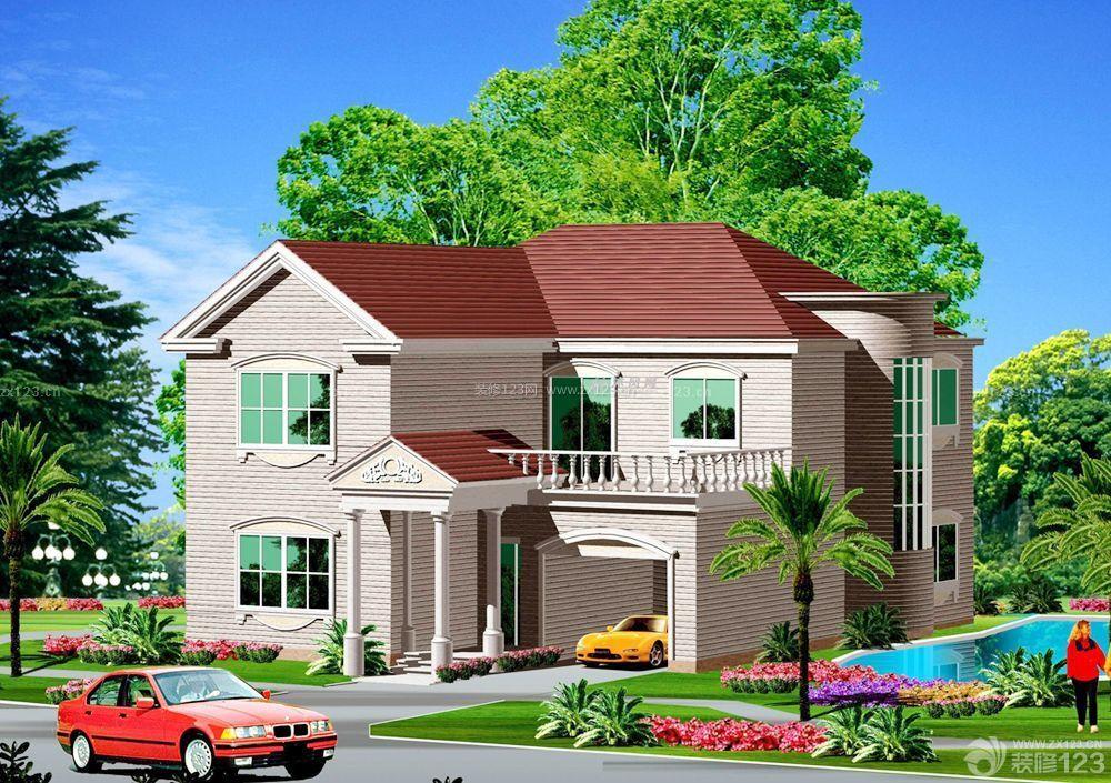 农村别墅设计半顶式琉璃屋顶效果图大全