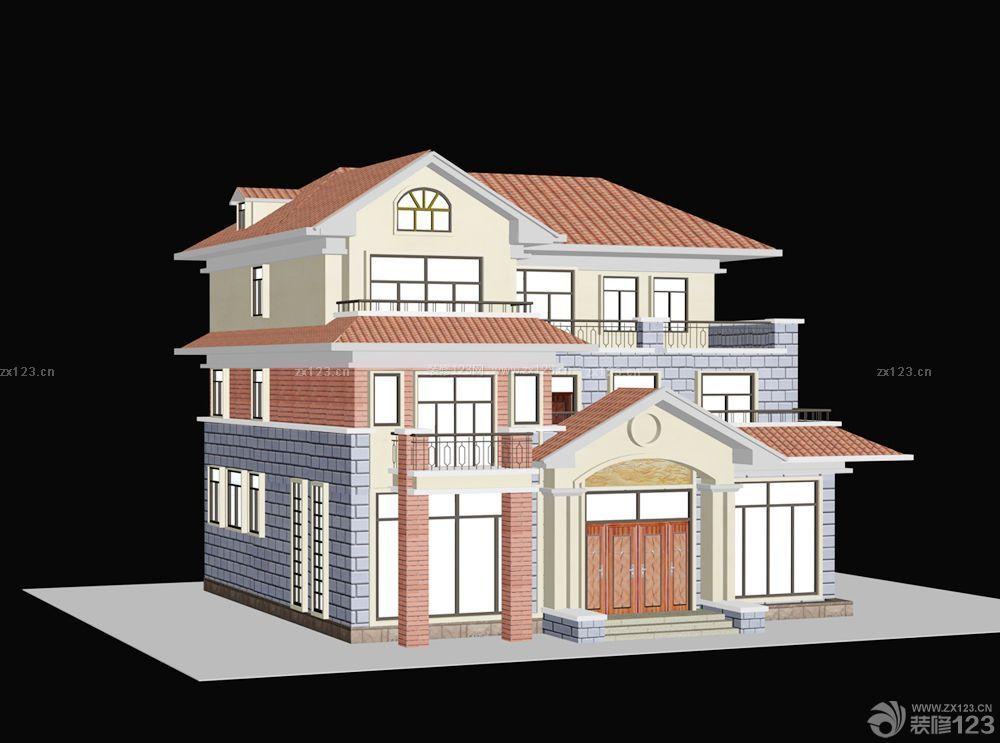 农村自建别墅设计半顶式琉璃屋顶效果图