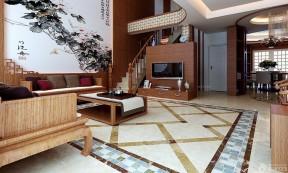 樓中樓樓梯扶手裝修設計圖 中式家裝效果圖