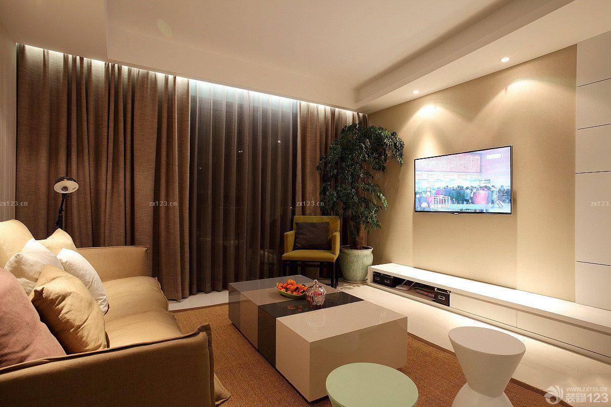 欧式新古典风格客厅电视背景墙布装修图