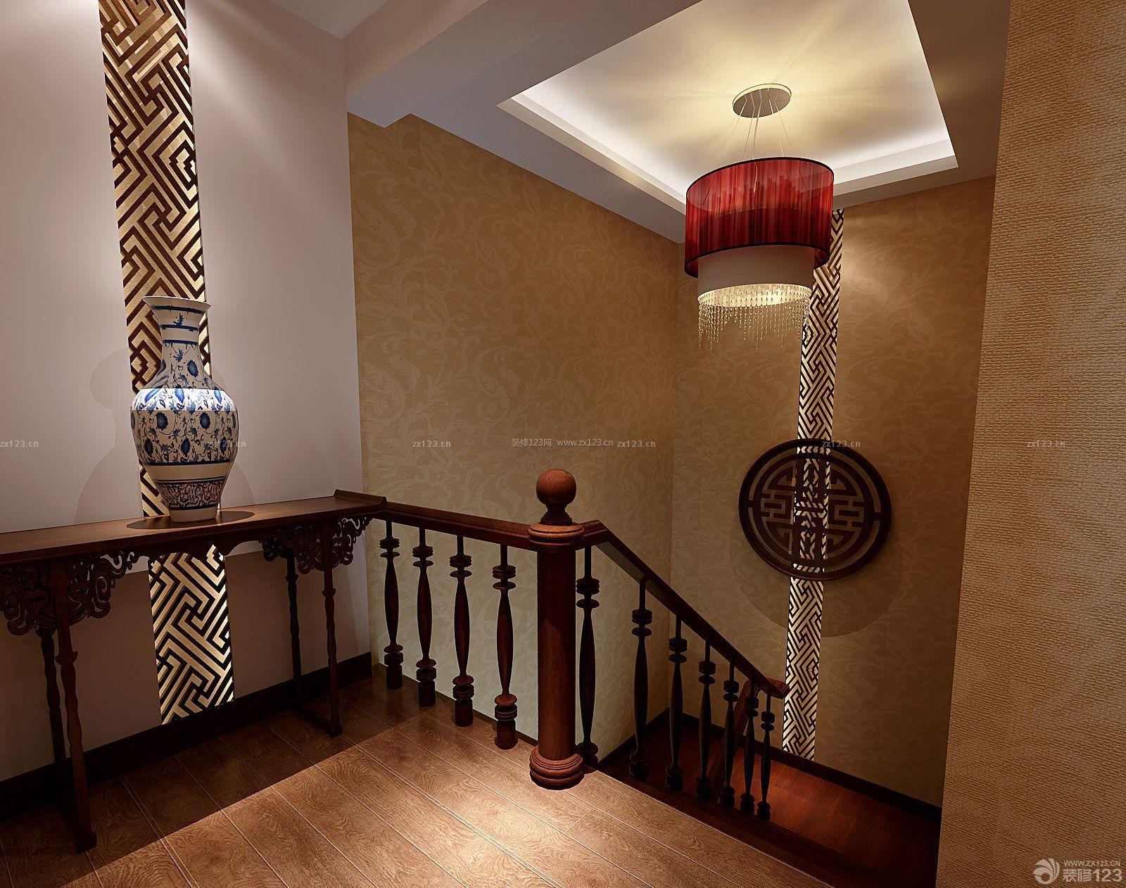 新中式风格室内楼道楼梯扶手装修图片大全