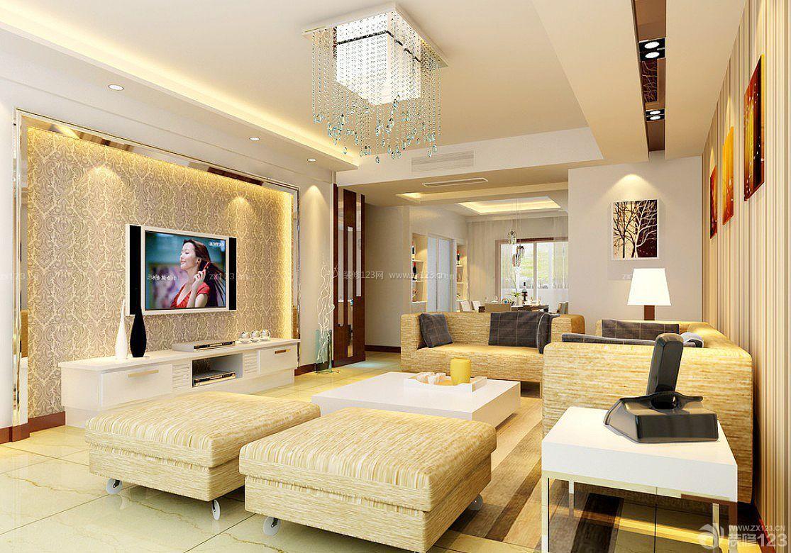 欧式室内客厅电视背景墙布装潢装修效果图片