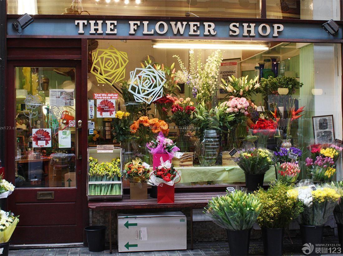 精致鲜花店门头橱窗陈列效果图图片