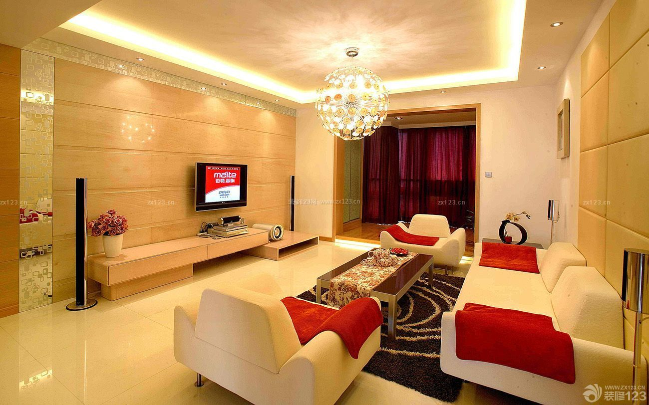 中式混搭客厅瓷砖背景墙装修效果图