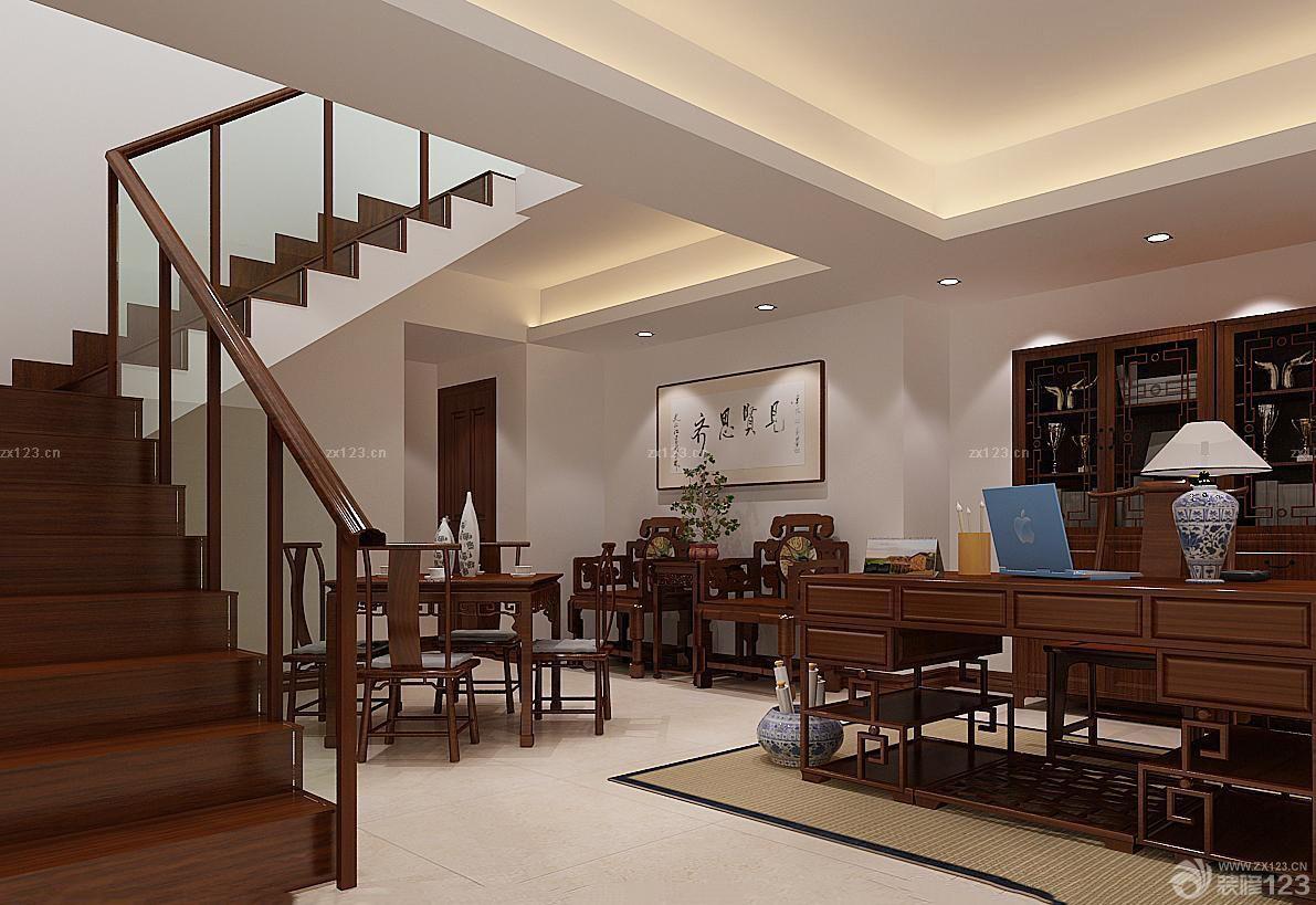 现代中式风格玄关玻璃楼梯扶手装修图