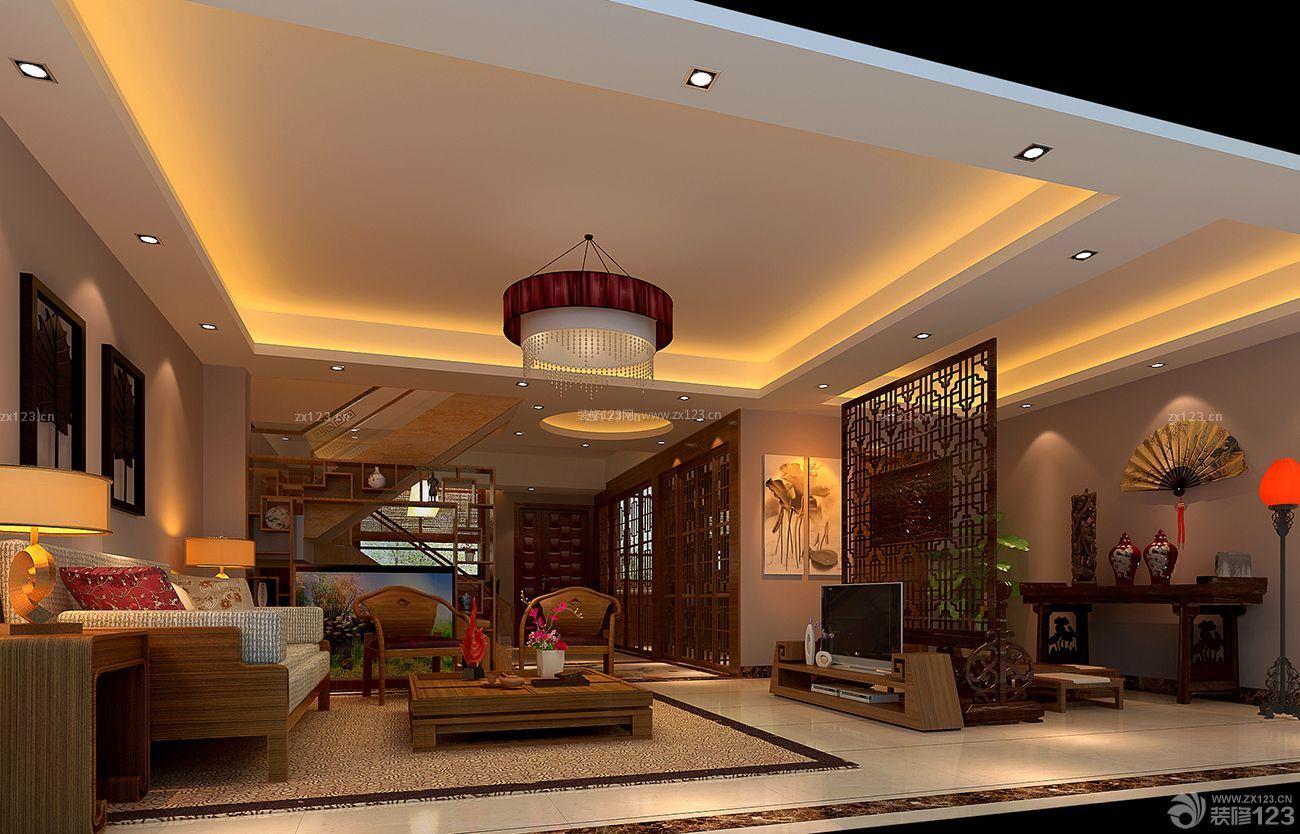 2015中式室内客厅玻璃楼梯装修图